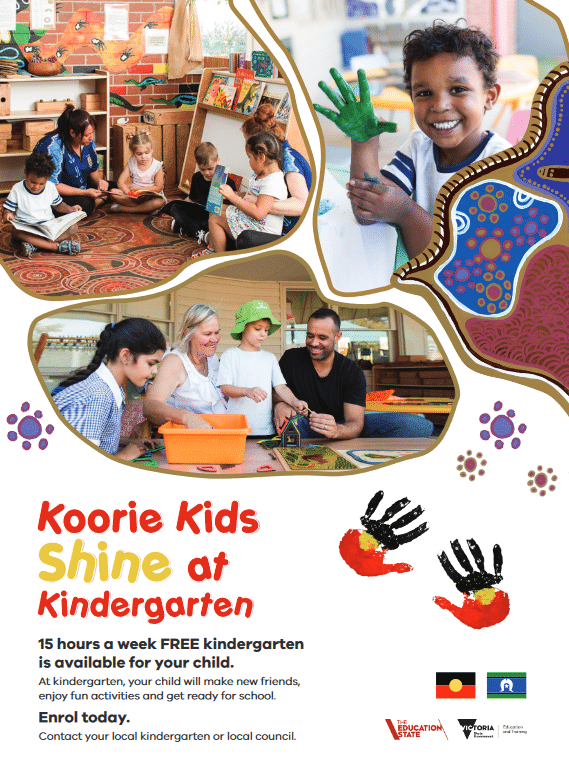 Koorie Kids Shine at Kindergarten poster, Victorian Department of Education and Training for Blick Creative