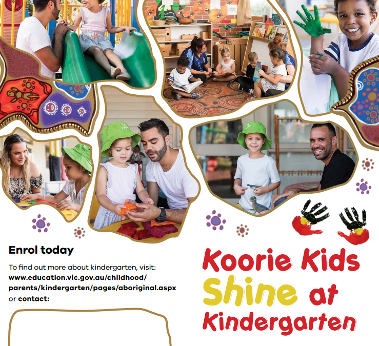 Koorie Kids Shine at Kindergarten flyer, Victorian Department of Education and Training for Blick Creative