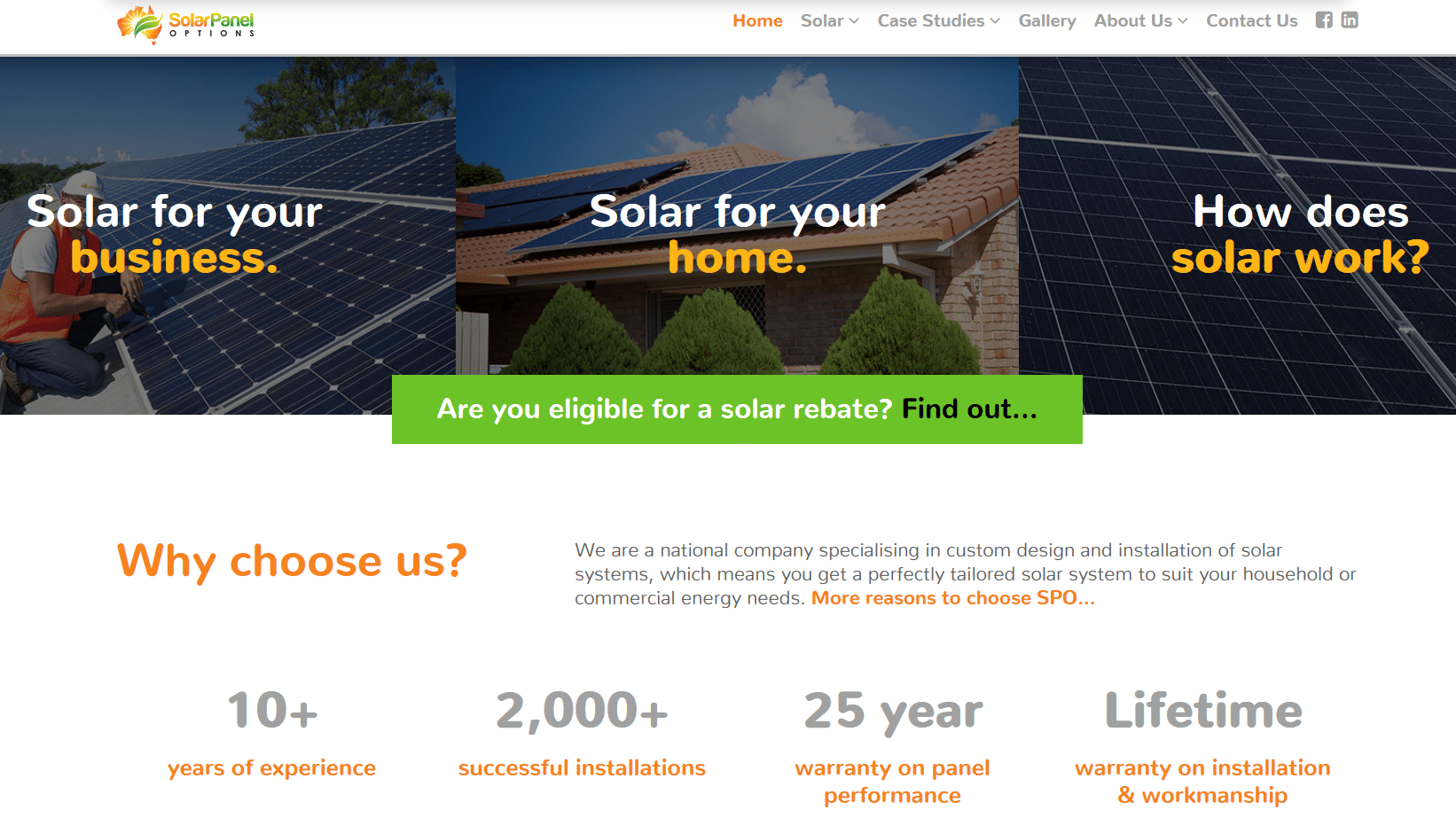 Solar Panel Options website copy for Mity Digital