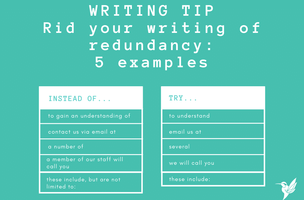 5 examples of reducing redundancy in writing