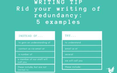 Writing tip: Rid your writing of redundancy